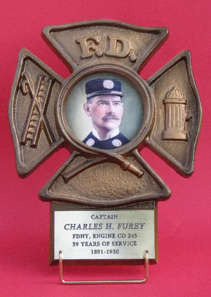 bronze firefighter picture frame